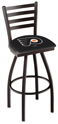 "L014 - 30"" Black Wrinkle Philadelphia Flyers Swivel Bar Stool with Ladder Style Back by Holland Bar Stool Co."