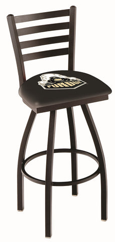 "Purdue  Boilermakers L014 - 30"" Black Wrinkle Purdue Swivel Bar Stool with Ladder Style Back"