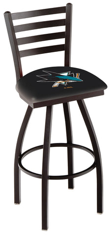 "L014 - 30"" Black Wrinkle San Jose Sharks Swivel Bar Stool with Ladder Style Back by Holland Bar Stool Co."