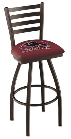 "SIU Salukis L014 - 30"" Black Wrinkle Southern Illinois Swivel Bar Stool with Ladder Style Back"