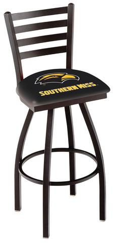 "Southern Miss Golden Eagles L014 - 30"" Black Wrinkle Southern Miss Swivel Bar Stool with Ladder Style Back"