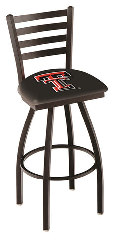 "TTU Red Raiders L014 - 30"" Black Wrinkle Texas Tech Swivel Bar Stool with Ladder Style Back"