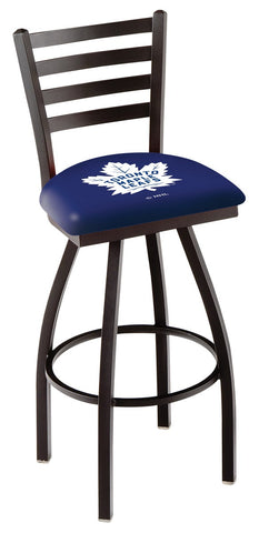"L014 - 30"" Black Wrinkle Toronto Maple Leafs Swivel Bar Stool with Ladder Style Back by Holland Bar Stool Co."