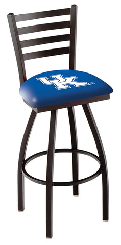 "UK Wildcats L014 - 30"" Black Wrinkle Kentucky ""UK"" Swivel Bar Stool with Ladder Style Back"