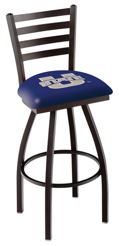 "USU Aggies L014 - 30"" Black Wrinkle Utah State Swivel Bar Stool with Ladder Style Back"