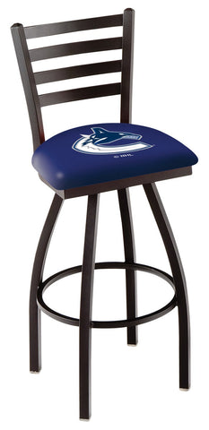 "L014 - 30"" Black Wrinkle Vancouver Canucks Swivel Bar Stool with Ladder Style Back by Holland Bar Stool Co."