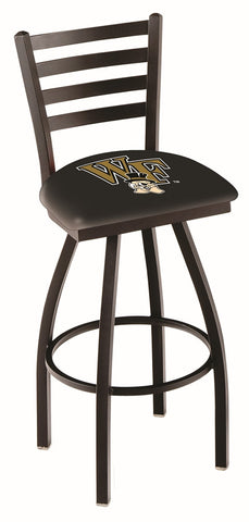 "Wake Forest Demon Deacons L014 - 30"" Black Wrinkle Wake Forest Swivel Bar Stool with Ladder Style Back"