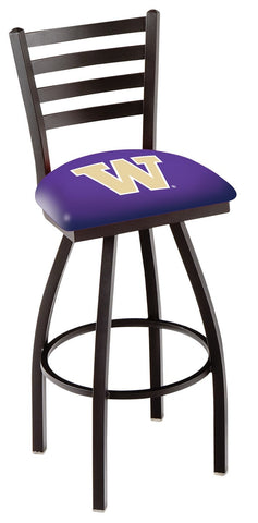 "UW Huskies L014 - 30"" Black Wrinkle Washington Swivel Bar Stool with Ladder Style Back"
