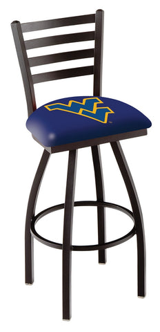 "WVU Mountaineers L014 - 30"" Black Wrinkle West Virginia Swivel Bar Stool with Ladder Style Back"