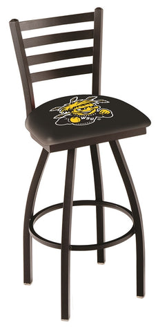 "Wichita State  Shockers L014 - 30"" Black Wrinkle Wichita State Swivel Bar Stool with Ladder Style Back"