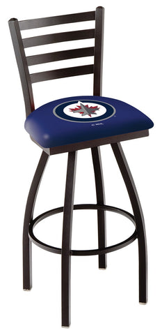 "L014 - 30"" Black Wrinkle Winnipeg Jets Swivel Bar Stool with Ladder Style Back by Holland Bar Stool Co."