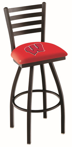 "UW Badgers L014 - 30"" Black Wrinkle Wisconsin ""W"" Swivel Bar Stool with Ladder Style Back"