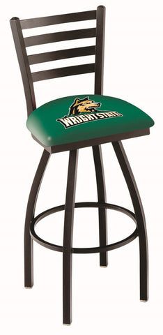 "Wright State  Raiders L014 - 30"" Black Wrinkle Wright State Swivel Bar Stool with Ladder Style Back"