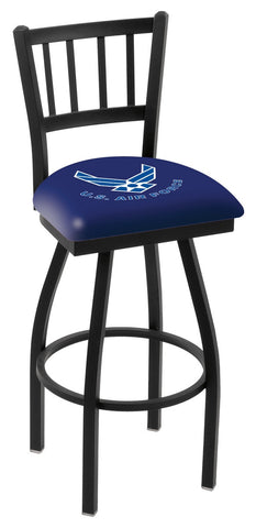 "L018 - 30"" Black Wrinkle U.S. Air Force Swivel Bar Stool with Jailhouse Style Back by Holland Bar Stool Co."