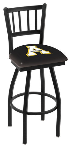 "ASU Mountaineers L018 - 30"" Black Wrinkle Appalachian State Swivel Bar Stool with Jailhouse Style Back"