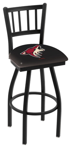 "L018 - 30"" Black Wrinkle Arizona Coyotes Swivel Bar Stool with Jailhouse Style Back by Holland Bar Stool Co."