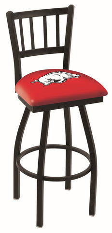 "Arkansas Razorbacks L018 - 30"" Black Wrinkle Arkansas Swivel Bar Stool with Jailhouse Style Back"