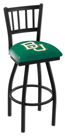 "Baylor  Bears L018 - 30"" Black Wrinkle Baylor Swivel Bar Stool with Jailhouse Style Back"