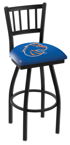 "BSU Broncos L018 - 30"" Black Wrinkle Boise State Swivel Bar Stool with Jailhouse Style Back"