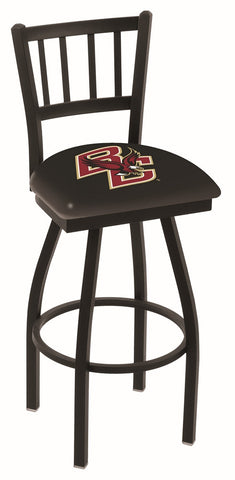"BC Eagles L018 - 30"" Black Wrinkle Boston College Swivel Bar Stool with Jailhouse Style Back"