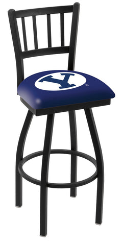 "BYU Cougars L018 - 30"" Black Wrinkle Brigham Young Swivel Bar Stool with Jailhouse Style Back"