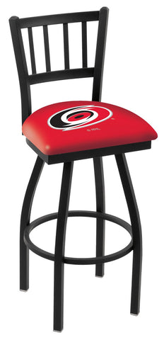 "L018 - 30"" Black Wrinkle Carolina Hurricanes Swivel Bar Stool with Jailhouse Style Back by Holland Bar Stool Co."