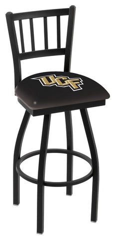 "UCF Knights L018 - 30"" Black Wrinkle Central Florida Swivel Bar Stool with Jailhouse Style Back"