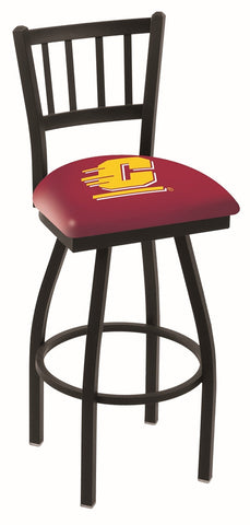 "CMU Chippewas L018 - 30"" Black Wrinkle Central Michigan Swivel Bar Stool with Jailhouse Style Back"