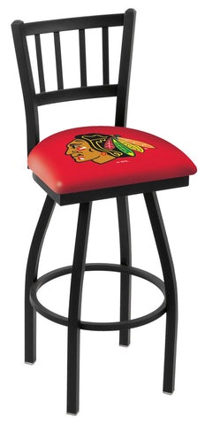 "L018 - 30"" Black Wrinkle Chicago Blackhawks Swivel Bar Stool with Jailhouse Style Back by Holland Bar Stool Co."