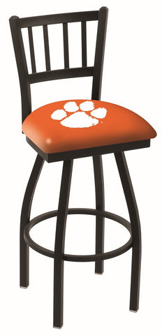 "Clemson  Tigers L018 - 30"" Black Wrinkle Clemson Swivel Bar Stool with Jailhouse Style Back"