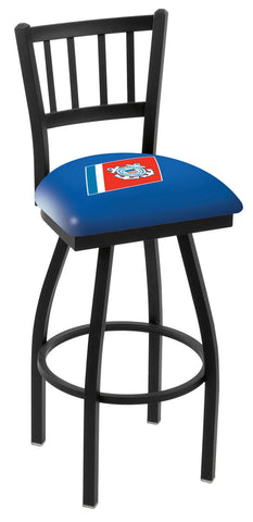 "L018 - 30"" Black Wrinkle U.S. Coast Guard Swivel Bar Stool with Jailhouse Style Back by Holland Bar Stool Co."