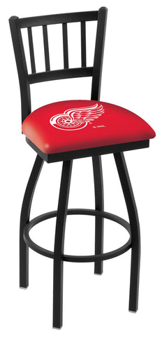 "L018 - 30"" Black Wrinkle Detroit Red Wings Swivel Bar Stool with Jailhouse Style Back by Holland Bar Stool Co."