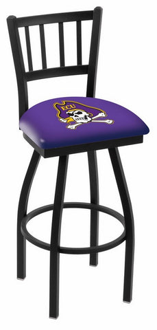 "ECU Pirates L018 - 30"" Black Wrinkle East Carolina Swivel Bar Stool with Jailhouse Style Back"