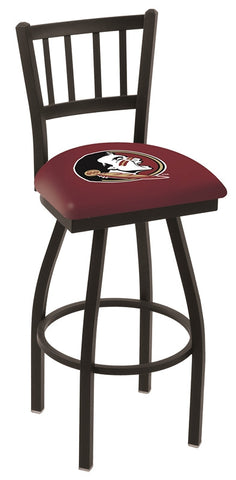 "FSU Seminoles L018 - 30"" Black Wrinkle Florida State (Head) Swivel Bar Stool with Jailhouse Style Back"
