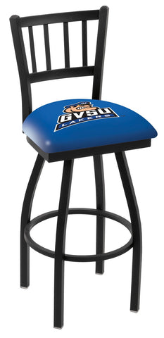 "GVSU Lakers L018 - 30"" Black Wrinkle Grand Valley State Swivel Bar Stool with Jailhouse Style Back"