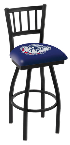 "Gonzaga Bulldogs L018 - 30"" Black Wrinkle Gonzaga Swivel Bar Stool with Jailhouse Style Back"