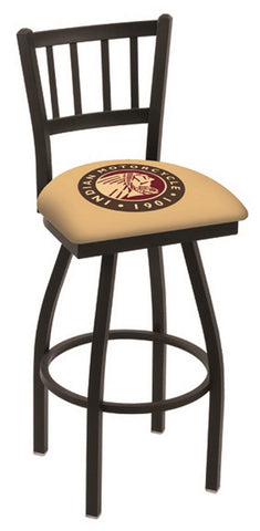 "L018 - 30"" Black Wrinkle Indian Motorcycle Swivel Bar Stool with Jailhouse Style Back by Holland Bar Stool Co."