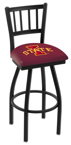 "ISU Cyclones L018 - 30"" Black Wrinkle Iowa State Swivel Bar Stool with Jailhouse Style Back"