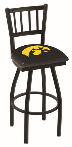 "Iowa Hawkeyes L018 - 30"" Black Wrinkle Iowa Swivel Bar Stool with Jailhouse Style Back"