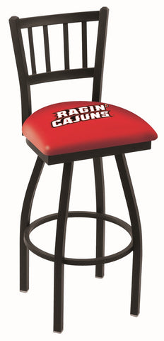 "Louisiana Rajun Caguns L018 - 30"" Black Wrinkle Louisiana-Lafayette Swivel Bar Stool with Jailhouse Style Back"