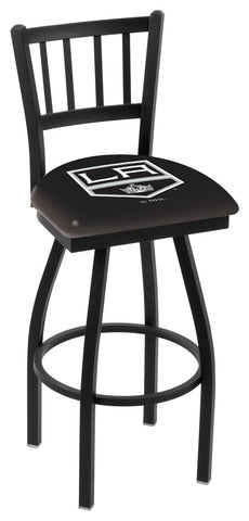 "L018 - 30"" Black Wrinkle Los Angeles Kings Swivel Bar Stool with Jailhouse Style Back by Holland Bar Stool Co."
