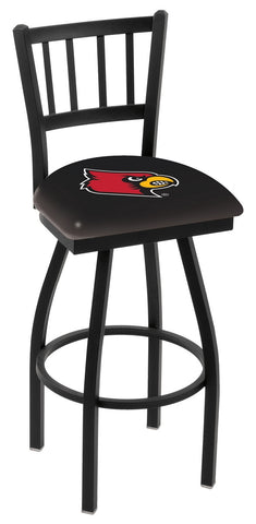 "UofL Cardinals L018 - 30"" Black Wrinkle Louisville Swivel Bar Stool with Jailhouse Style Back"