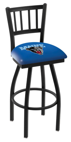 "Maine Black Bears L018 - 30"" Black Wrinkle Maine Swivel Bar Stool with Jailhouse Style Back"