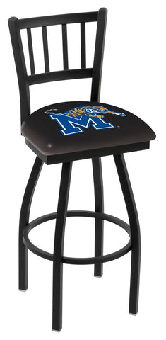 "Memphis Tigers L018 - 30"" Black Wrinkle Memphis Swivel Bar Stool with Jailhouse Style Back"