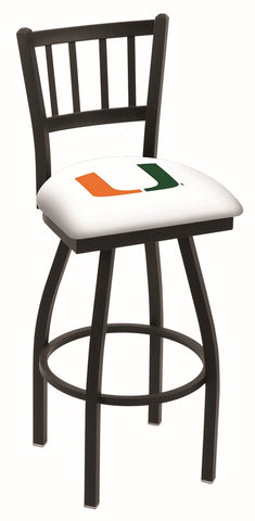 "Miami Hurricanes L018 - 30"" Black Wrinkle Miami (FL) Swivel Bar Stool with Jailhouse Style Back"