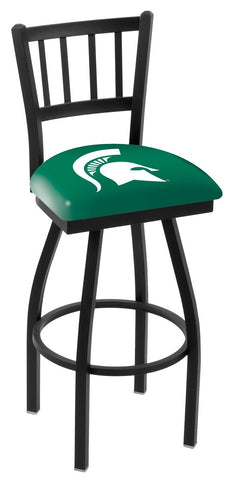 "MSU Spartans L018 - 30"" Black Wrinkle Michigan State Swivel Bar Stool with Jailhouse Style Back"