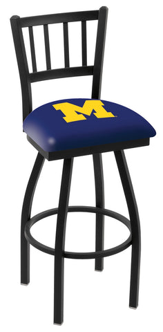 "Michigan Wolverines L018 - 30"" Black Wrinkle Michigan Swivel Bar Stool with Jailhouse Style Back"