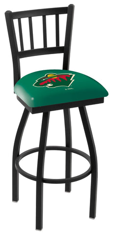 "L018 - 30"" Black Wrinkle Minnesota Wild Swivel Bar Stool with Jailhouse Style Back by Holland Bar Stool Co."