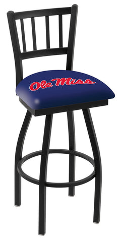 "Ole Miss Rebels L018 - 30"" Black Wrinkle Ole' Miss Swivel Bar Stool with Jailhouse Style Back"