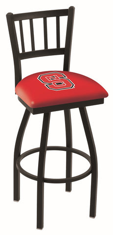 "NC State Wolfpack L018 - 30"" Black Wrinkle North Carolina State Swivel Bar Stool with Jailhouse Style Back"